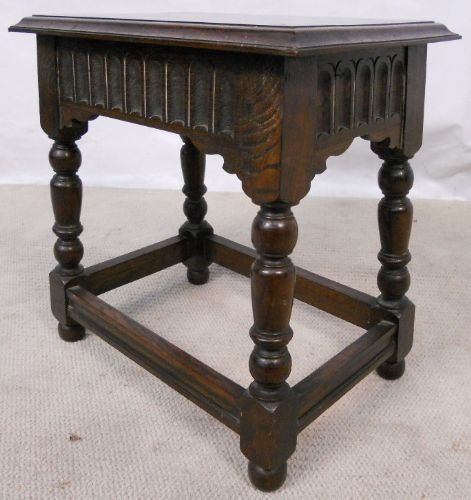 Antique Jacobean Style Dark Oak Joint Stool - SOLD